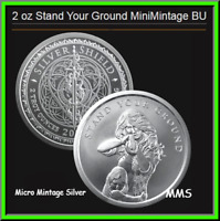 Stand Your Ground Silver Shield 2oz BU .999 Round 2nd Amendment COA 107 or Lower
