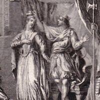 Gravure XVIIIe Frédégonde Fried Gund Couronnement Chilpéric Reine Neustrie