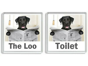 BLACK LABRADOR READING A NEWSPAPER ON THE LOO Novelty Toilet Door Signs