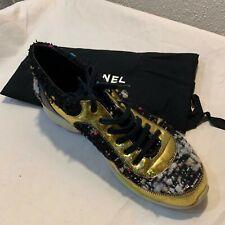 CHANEL CC G30442 Women's TWEED METALLIC Sneaker Trainer SIZE 39 EUC