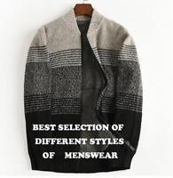 Mens New Cardigan Sweater Coat Zipper Varsity Wool Blend Jacket Large Size Sbox1