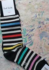 Paul Smith Mens English Socks Dash Stripe Black & Multi K720 One Size Cotton Mix