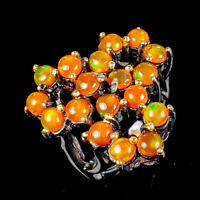 Rainbow4x4mm Natural Orange Opal 925 Sterling Silver Ring Size 8.75/R121997