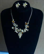 Gold Colour Flower Necklace & Earring set
