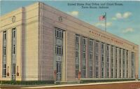 Terre Haute Indiana~US Post Office & Court House~1941 Linen postcard