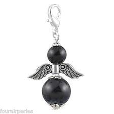 5 Pendentif Breloque Ailes Ange Noir Perle d'imitation Fait Main 4x2.3cm