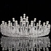 Bridal Wedding Tiara Crown Rhinestone Crystal Pearl Silver Hair Band Headband