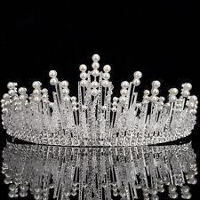 Elegant Bridal Wedding Rhinestone Crystal Pearl Silver Crown Headband Hairband