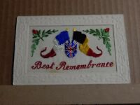 WW1 Silk postcard Best remembrance Allied Flags short message on back unposted