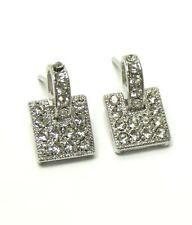 Square White Gold Plating EARRINGS Crystal Post Stud NEW