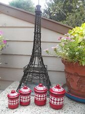 VINTAGE FRENCH ENAMELWARE CANISTER SET RED AND WHITE 4 PIECE PLUS LIDS