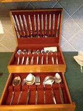 Oneida Community Silver Plate Plated Vintage Flight W Box Service For 12 Serving
