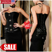 Sheer Black Victorian Lace Ruffled Boned Lace Up Corset Bustier Overbust S-2XL