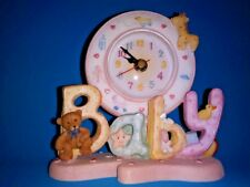 """Clock for baby's nursery animals toys pink trim and base almost 6"""" in height"""