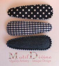 Baby Girls Non Slip Hair Clips ~ 4.7 cm Snap Clips ~ Navy Blue Denim ~ Set of 3
