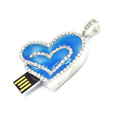 Cuore D'argento / Blu con pietra - Chiavetta USB 16 GB di memoria / Flash Drive