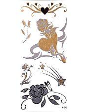 Gold Flash Tattoos Modeschmuck Tattoo Blumen Herzen Sterne W-245
