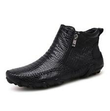 Alligator Mens Real Leather Dress Formal Pointed Toe Ankle Boots High Top Shoes