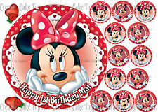 Minnie Mouse Red Polka Dot Personalised Birthday Cup Cake Edible Icing Toppers