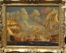 Fine Large 19th Century Battle Of Trafalgar Gunships Marine Oil Antique Painting