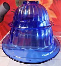 2 Rare VINTAGE HAZEL ATLAS RIBBED COBALT BLUE MIXING NESTING BOWL BOWLS GLASS NR