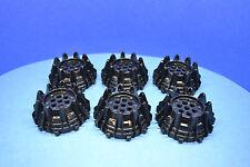 LEGO 6 x Rad Set schwarz hart Plastik Rad   black rim with studs 64712