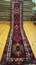 """Primitive 1900-1930s Antique Wool Pile 2'9""""×13'2"""" Natural Dyes Runner Rug"""