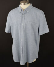 AG ADRIANO GOLDSCHMIED Blue NASH Short Sleeve Button Front Cotton Shirt XXL NWT