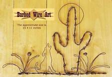 Cactus & Coyote Scene - handmade metal wall decor barbed wire art animals ranch