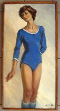 Original Ukrainian Soviet Social Realism USSR Oil Painting Woman Sport 1980 Big