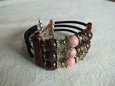 "Beautiful Wrap Bracelet Black Brown Pink Gold Tone Beads Findings 1 1/4"" Wide"