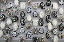 Wholesale Bulk Lots 20pcs Resin Shell Fashion Silver P Women Big Ring Gs221