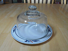 Dansk Japan Bistro MARIBO Cheese Plate w Heavyweight Glass Dome 9 in Blue