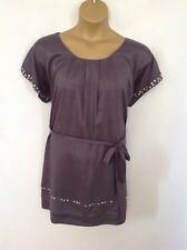 DOROTHY PERKINS UK 18 DARK GREY DIAMANTE BEAD TRIM SKATER TUNIC SHIFT DRESS