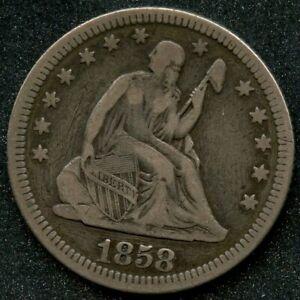 1858 (VF) 25C SEATED LIBERTY QUARTER