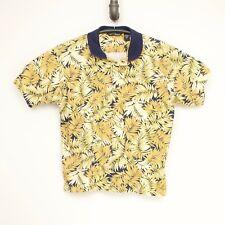 Tori Richard Camisa Hombre L Amarillo Verde Flores Helecho Algodón Estampado