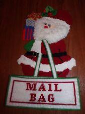 "Done Christmas Plastic Canvas Felt Sequins SANTA Mail Bag Card Holder 19"" Tall"