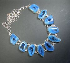 Natural, Blue Druzy Agate Ten Stone Gemstone Necklace - .925 Silver Overlay