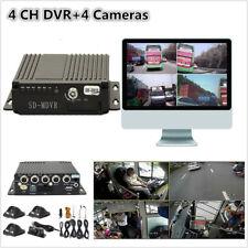 Car Vehicle Mobile DVR 4CH Audio/Video Recorder Remote Control SD +4 CCD Cameras
