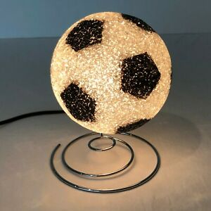 Soccer Ball Vintage Light Retro Light Up Plastic Silver Metal Base Kids Room