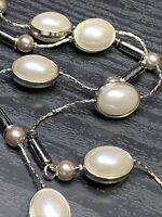 """Signed NY Long Sweater Necklace Pearl Marcasite color Beaded Silver Tone 40"""""""