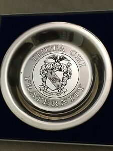 Vintage Franklin Mint Solid Sterling Silver Plate THETA CHI FRATERNITY with COA