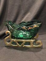 Fenton Glass Christmas Sleigh 4695 SD Green