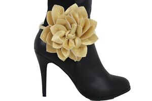 Women Boot Bracelet Gold Faux Leather Shoe Big Flower Rose Charm Tie Wrap Fabric