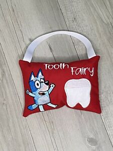Tooth Fairy Pillow Bluey Dog Lost Tooth Pocket Cushion Birthday