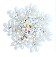 Amazing White Christmas Snowflake Brooch Pearls & Rhinestones Pin Gift BR130