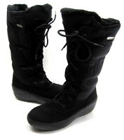 PAJAR WOMEN'S ELENA FRONT LACE SIDE-ZIP BOOT BLACK FABRIC SIZE 6-6.5 EUR 37 MED