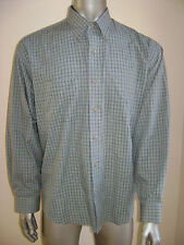 VAN HEUSEN MEN TOP CASUAL DRESS SHIRT size L 16 16.5 BLUE GREEN MINT CONDITION