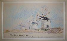 Bechon-Sauzeau Pierre Roger Al dessin pastel signée paysage les moulins