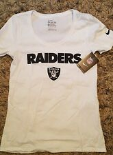 Nike Women's Oakland Raiders T-Shirt Tee s White Black Football Casual Gym New